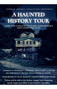 """The DeKalb Animal Coalition Presents """"Smithville's Unquiet Dead: Haunted History Tour"""""""