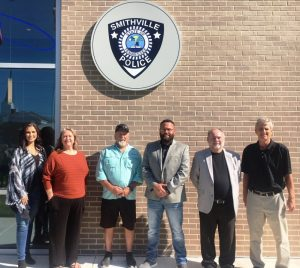 City of Smithville Hosts Open House for New Police Department Building. Pictured left to right-Aldermen Beth Chandler, Jessica Higgins, and Danny Washer, Mayor Josh Milller, Alderman and Police Commissioner Shawn Jacobs, and Wayne Oakley of Studio Oakley Architects, LLC of Lebanon