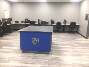 Police officer work stations in new Smithville Police Department Building